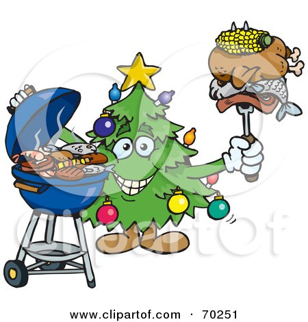 Royalty-Free (RF) Clipart Illustration of a Grilling Christmas Tree Holding Food On A BBQ Fork by Dennis Holmes Designs