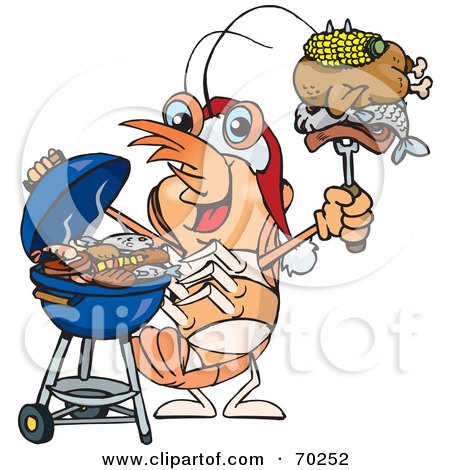 Royalty-Free (RF) Clipart Illustration of a Grilling Prawn Wearing A Santa Hat And Holding Food On A BBQ Fork by Dennis Holmes Designs