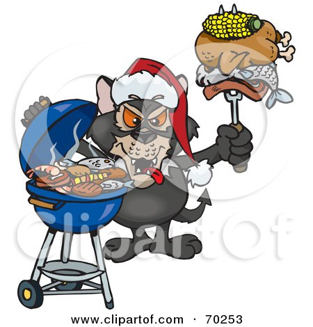 Royalty-Free (RF) Clipart Illustration of a Grilling Tasmanian Devil Wearing A Santa Hat And Holding Food On A BBQ Fork by Dennis Holmes Designs