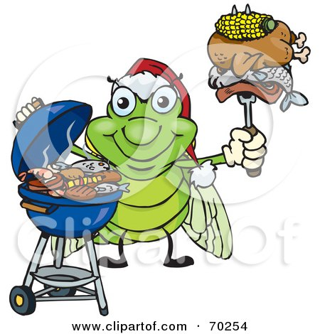 Royalty-Free (RF) Clipart Illustration of a Grilling Cicada Wearing A Santa Hat And Holding Food On A BBQ Fork by Dennis Holmes Designs