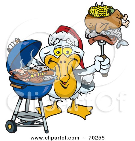 Royalty-Free (RF) Clipart Illustration of a Grilling Pelican Wearing A Santa Hat And Holding Food On A BBQ Fork by Dennis Holmes Designs