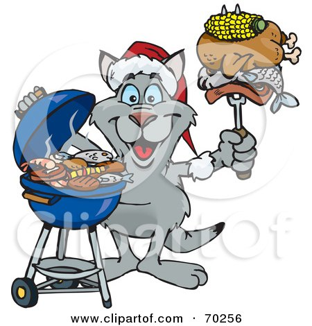 Royalty-Free (RF) Clipart Illustration of a Grilling Kangaroo Wearing A Santa Hat And Holding Food On A BBQ Fork by Dennis Holmes Designs