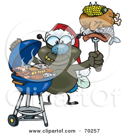Royalty-Free (RF) Clipart Illustration of a Grilling House Fly Wearing A Santa Hat And Holding Food On A BBQ Fork by Dennis Holmes Designs
