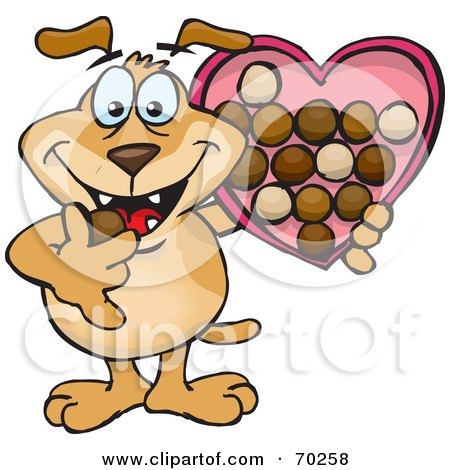 Royalty-Free (RF) Clipart Illustration of a Sparkey Dog Eating Valentines Day Chocolates by Dennis Holmes Designs