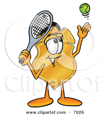 Clipart Picture of a Badge Mascot Cartoon Character Preparing to Hit a Tennis Ball by Toons4Biz