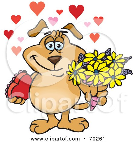 Royalty-Free (RF) Clipart Illustration of a Sparkey Dog Holding Flowers And Chocolates, With Hearts by Dennis Holmes Designs