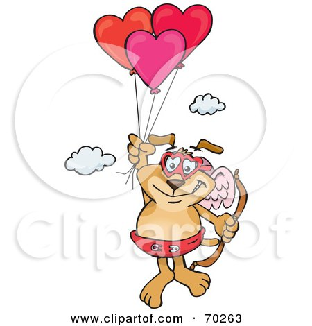 Royalty-Free (RF) Clipart Illustration of a Sparkey Dog Cupid Floating Away With Heart Balloons by Dennis Holmes Designs