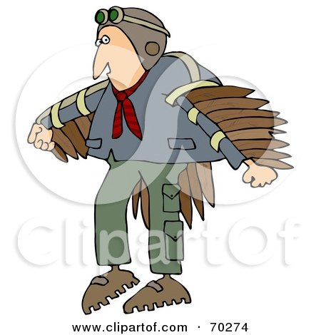 Royalty-Free (RF) Clipart Illustration of a Man Wearing Artificial Wings And Preparing To Fly by djart