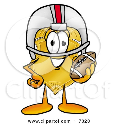 Clipart Picture of a Badge Mascot Cartoon Character in a Helmet, Holding a Football by Toons4Biz