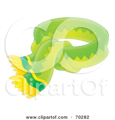 Royalty-Free (RF) Clipart Illustration of a Tied Green And Yellow Airbrushed Scarf by Alex Bannykh