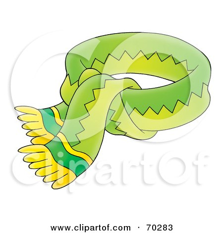 Royalty-Free (RF) Clipart Illustration of a Tied Green And Yellow Scarf by Alex Bannykh