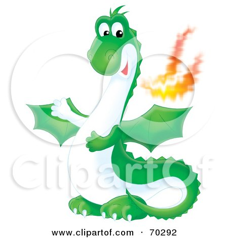Royalty-Free (RF) Clipart Illustration of a Green Airbrushed Fire Breathing Dragon by Alex Bannykh
