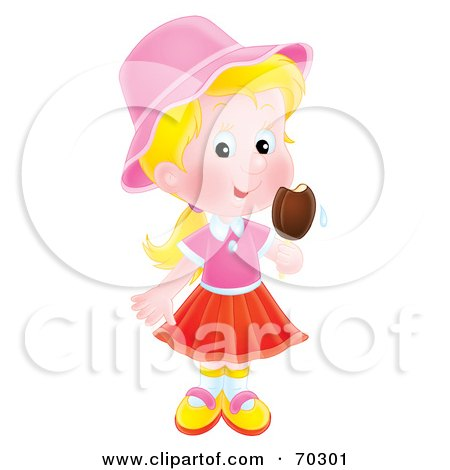 Royalty-Free (RF) Clipart Illustration of a Little Airbrushed Blond Girl Eating A Popsicle by Alex Bannykh