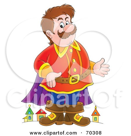 Royalty-Free (RF) Clipart Illustration of a Friendly Giant Standing In Front Of A Town by Alex Bannykh