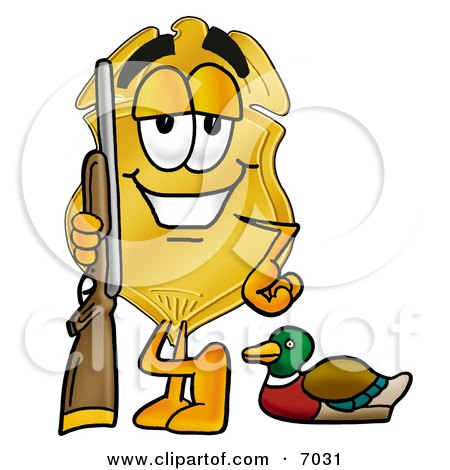 Clipart Picture of a Badge Mascot Cartoon Character Duck Hunting, Standing With a Rifle and Duck by Toons4Biz