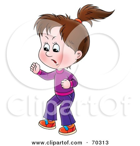 Royalty-Free (RF) Clipart Illustration of a Bratty Little Brunette Girl Stomping And Yelling by Alex Bannykh