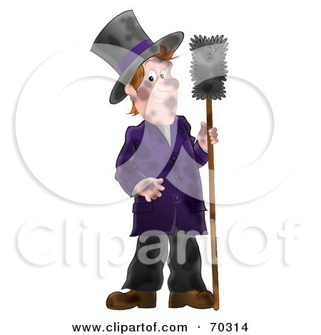 Royalty-Free (RF) Clipart Illustration of a Dirty Airbrushed Chimney Sweep Holding A Brush by Alex Bannykh