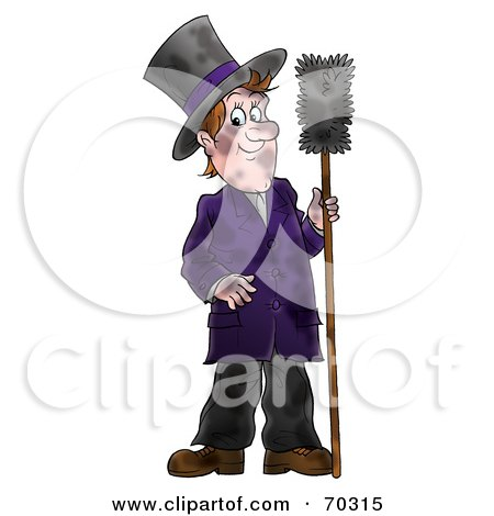 Royalty-Free (RF) Clipart Illustration of a Dirty Chimney Sweep Holding A Brush by Alex Bannykh