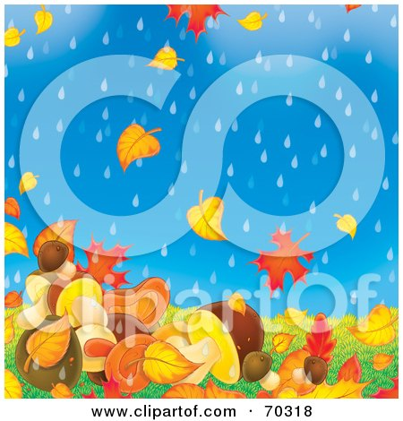 Royalty-Free (RF) Clipart Illustration of a Background Of Falling Autumn Leaves And Mushrooms On A Rainy Day by Alex Bannykh