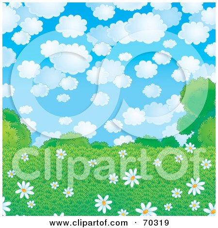 Royalty-Free (RF) Clipart Illustration of a Background Of White Daisies In A Green Field Under A Cloudy Sky by Alex Bannykh