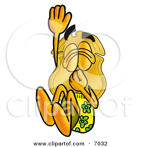 Clipart Picture of a Badge Mascot Cartoon Character Plugging His Nose While Jumping Into Water by Toons4Biz