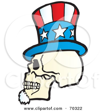 Royalty-Free (RF) Clipart Illustration of an Uncle Sam Skull Wearing A Hat by Snowy