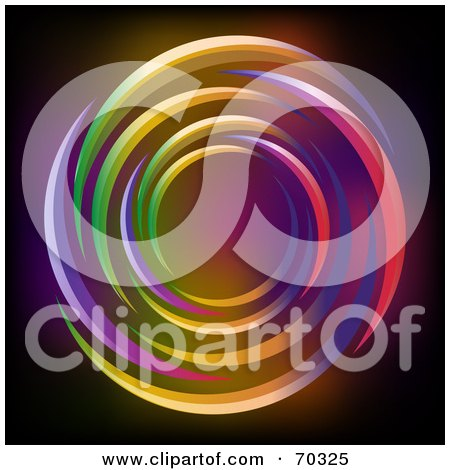 Royalty-Free (RF) Clipart Illustration of a Black Background With Neon Light Circles by elaineitalia