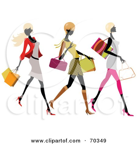 Royalty-Free (RF) Clipart Illustration of Three Faceless, Fashionable Women Carrying Shopping Bags by OnFocusMedia