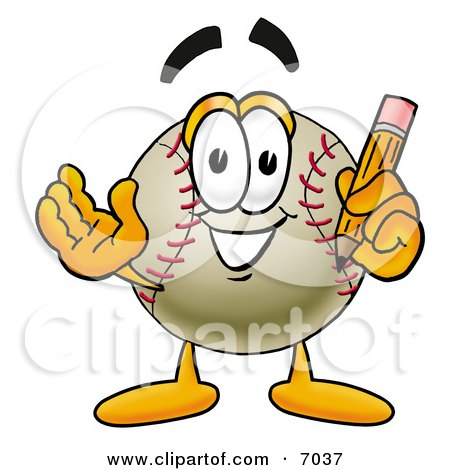 Clipart Picture of a Baseball Mascot Cartoon Character Holding a Pencil by Toons4Biz