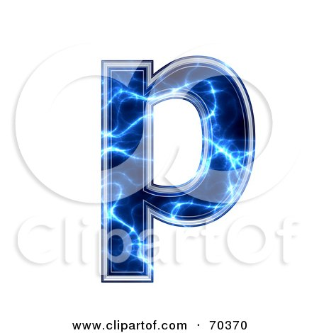 Royalty-Free (RF) Clipart Illustration of a Blue Electric Symbol; Lowercase p by chrisroll