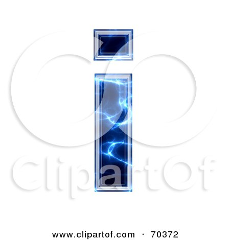 Royalty-Free (RF) Clipart Illustration of a Blue Electric Symbol; Lowercase i by chrisroll