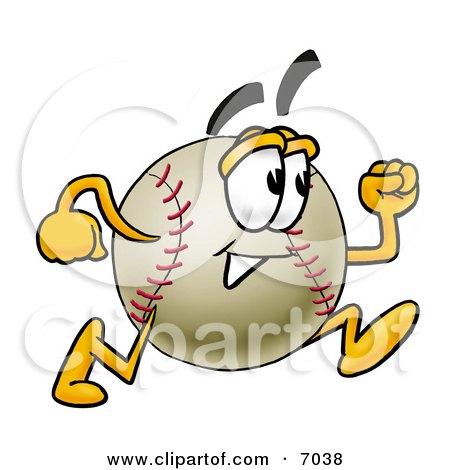 Clipart Picture Of A Baseball Mascot Cartoon Character Running