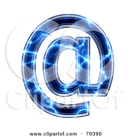Royalty-Free (RF) Clipart Illustration of a Blue Electric Symbol; Arobase by chrisroll