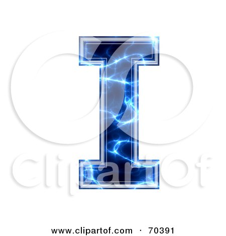Royalty-Free (RF) Clipart Illustration of a Blue Electric Symbol; Capital I by chrisroll