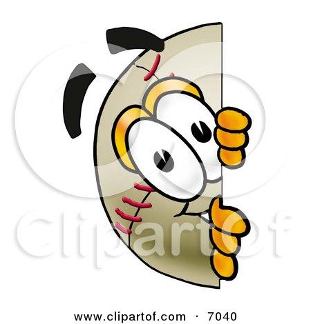 Clipart Picture Of A Baseball Mascot Cartoon Character Peeking Around A Corner