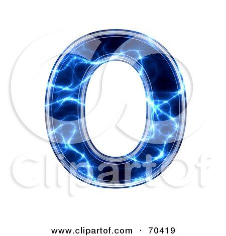 Royalty-Free (RF) Clipart Illustration of a Blue Electric Symbol; Capital O by chrisroll