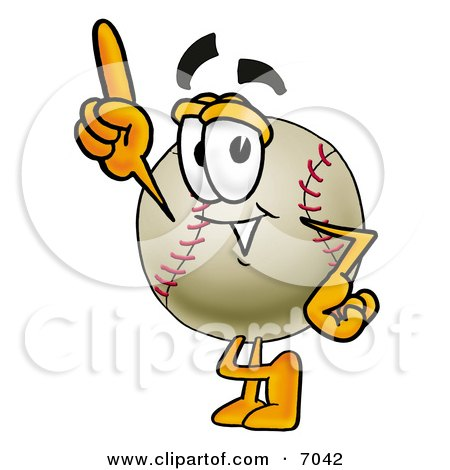 Clipart Picture Of A Baseball Mascot Cartoon Character Pointing Upwards