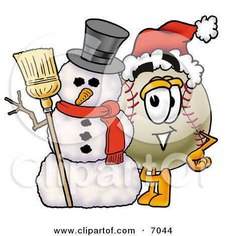 Clipart Picture Of A Baseball Mascot Cartoon Character With A Snowman On Christmas