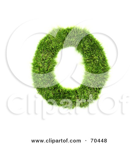 Royalty-Free (RF) Clipart Illustration of a Grassy 3d Green Symbol; Capital O by chrisroll