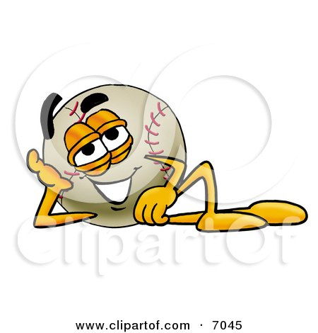 Clipart Picture of a Baseball Mascot Cartoon Character Resting His Head on His Hand by Toons4Biz