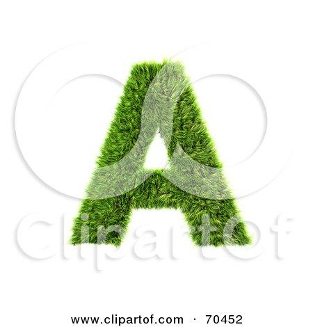 Grassy 3d Green Symbol; Capital A Posters, Art Prints