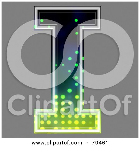 Royalty-Free (RF) Clipart Illustration of a Halftone Symbol; Capital I by chrisroll