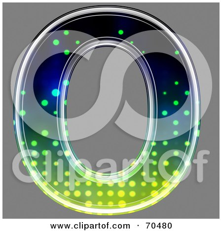 Royalty-Free (RF) Clipart Illustration of a Halftone Symbol; Capital O by chrisroll