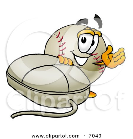 Clipart Picture of a Baseball Mascot Cartoon Character With a Computer Mouse by Toons4Biz