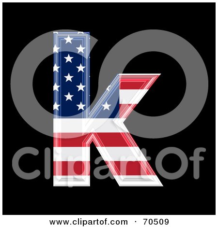 Royalty-Free (RF) Clipart Illustration of an American Symbol; Lowercase k by chrisroll