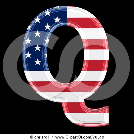 Royalty-Free (RF) Clipart Illustration of an American Symbol; Capital Q by chrisroll