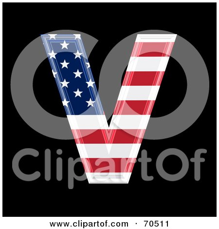 Royalty-Free (RF) Clipart Illustration of an American Symbol; Capital V by chrisroll