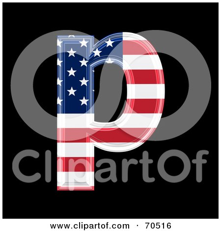 Royalty-Free (RF) Clipart Illustration of an American Symbol; Lowercase p by chrisroll