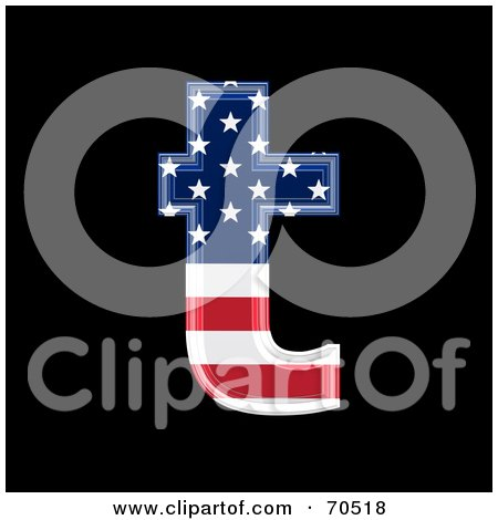 Royalty-Free (RF) Clipart Illustration of an American Symbol; Lowercase t by chrisroll