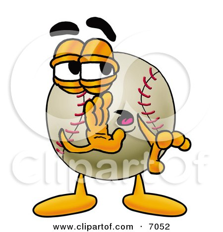 Clipart Picture of a Baseball Mascot Cartoon Character Whispering and Gossiping by Toons4Biz